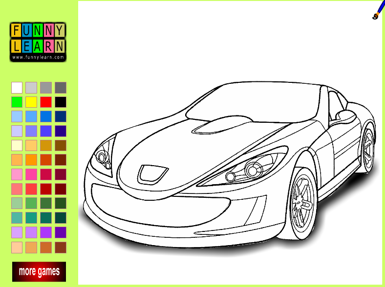 car games colouring pages