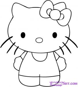 how to draw hello kitty coloring pages to print
