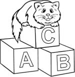 abc coloring pages cat
