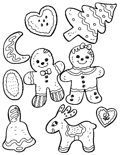 Christmas Cookies Coloring Pages To Print Cookie Coloring Pages Printable