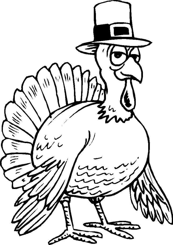 turkey wearing hat thanksgiving coloring pages