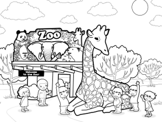 Zoo Coloring Page Zoo coloring pages 3Zoo Entrance Coloring Page