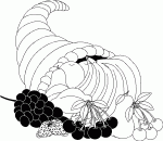 cornucopia with fruits thanksgiving coloring pages